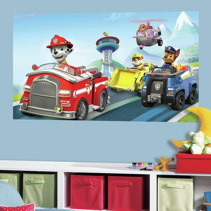 Paw Patrol Peel & Stick Mural Wall Decal by RoomMates, Blue