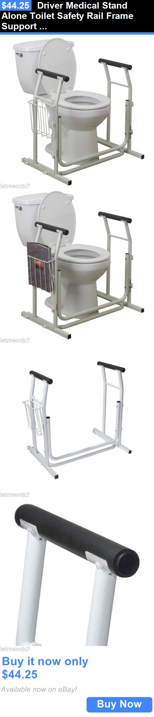 Handles and Rails: Driver Medical Stand Alone Toilet Safety Rail Frame Support Bathroom Grab Bar BUY IT NOW ONLY: $44.25