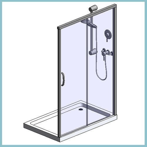 Sliding door enclosure with rayo manual mixer shower for Sliding glass doors autocad