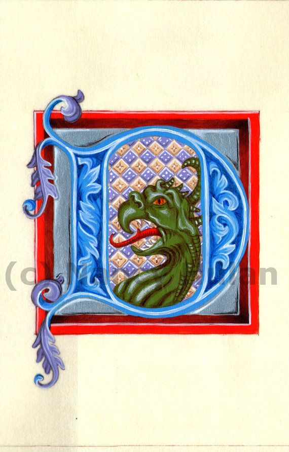 Medieval Illuminated Letter D, Alphabet Letter D,  Painted Initial