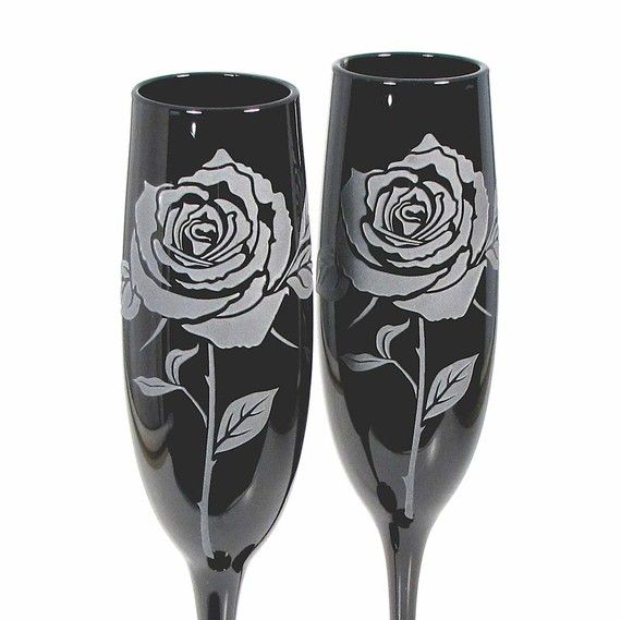 Black Toasting Flutes Rose Etched Glass by bradgoodell on Etsy, $56.00
