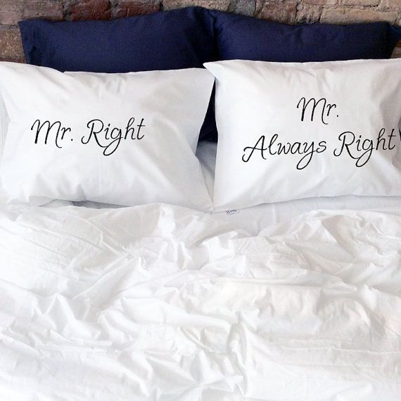 Personalized Gay Couples Pillow Cases, Mr Right Mr Always Right! (Set of 2)  Very romantic, funny and interesting Valentines gift for your love or just amazing couple gift. Will decorate every bedroom and make it sweet, romantic and comfy with a little bit of fun! Great idea to say I Love You :)  Probably one of the best gay anniversary, engagement or gift for gay wedding. Yours Mr and Mr will be happy to get that pillowcases.  Made of 100% very soft organic cotton. All pillowcases made…