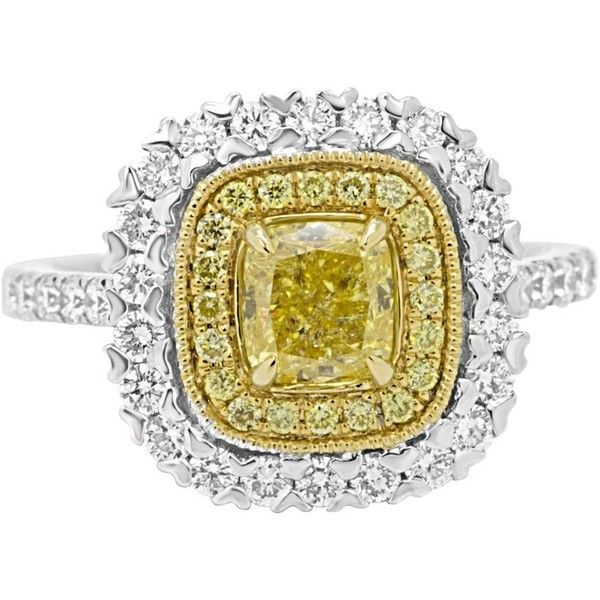 Preowned Natural Fancy Yellow Cushion Diamond Double Halo Two-color... ($6,900) ❤ liked on Polyvore featuring men's fashion, men's jewelry, men's rings, bridal rings, yellow, mens diamond rings, mens gold rings, mens yellow gold diamond rings, mens 18k gold rings and mens engagement rings