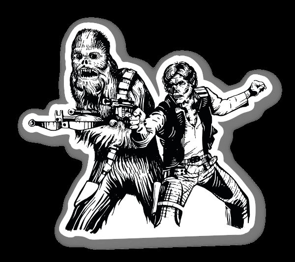 Chewbacca And Han Solo Skull Sticker