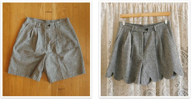 No-Sew Scalloped Shorts DIY: Before and after = I may try this on long pants, and cut them to capri length.