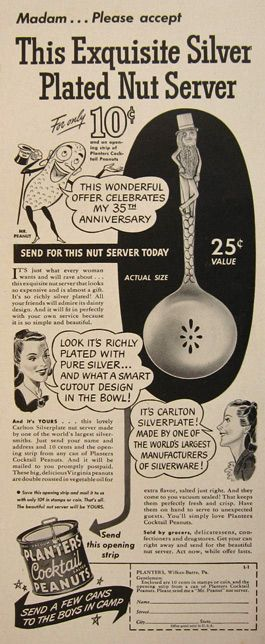 1941 Planters Peanuts Ad ~ Mr. Peanut Carlton Silverplate Spoon