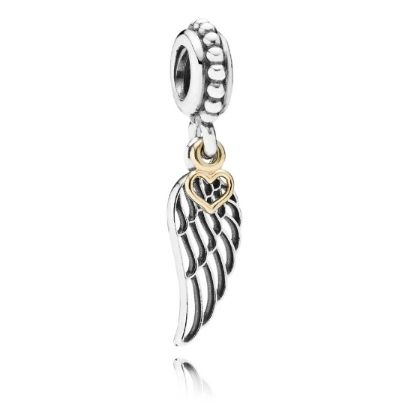 Pandora Silver 14ct Gold Angel Wing Dropper Charm 791389. A beautiful charm fit for any Pandora bracelet theme, set in sterling silver featuring a wonderful 14ct gold heart. The detailed angel wing drops beautifully from a beaded charm carrier, perfect for showing off.