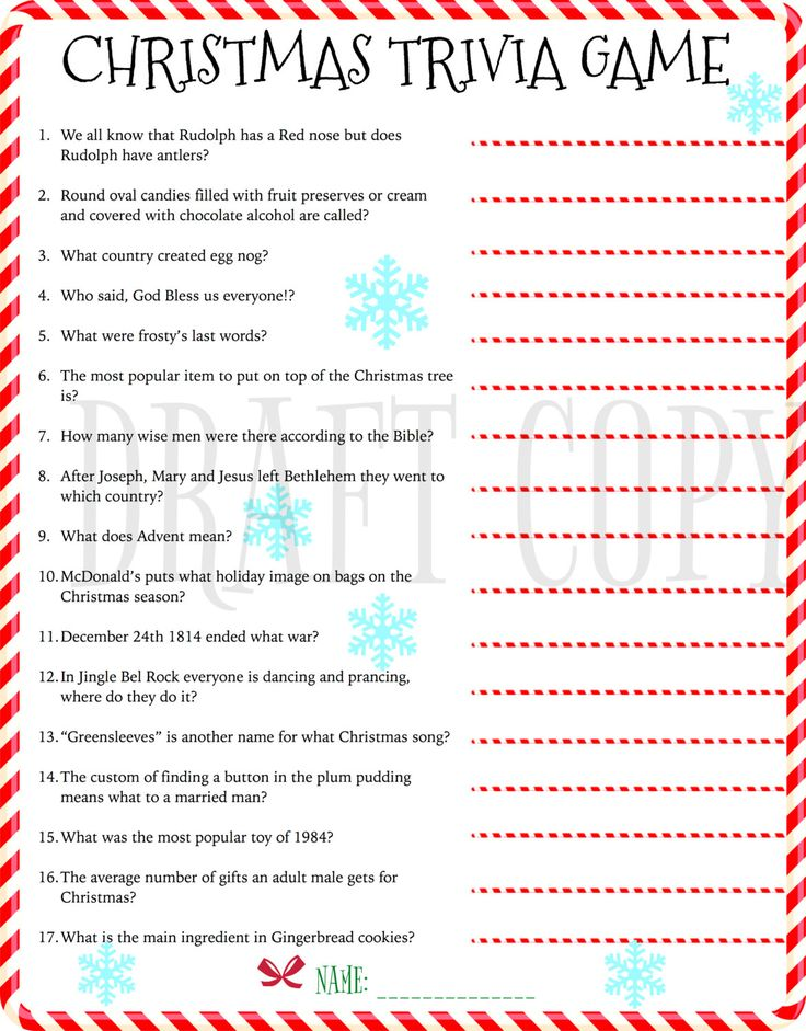 Christmas Trivia Game - Instant Download by 31Flavorsofdesign on Etsy