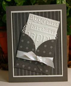 I love cards made with little envelopes! This handmade birthday card would be great for guys!