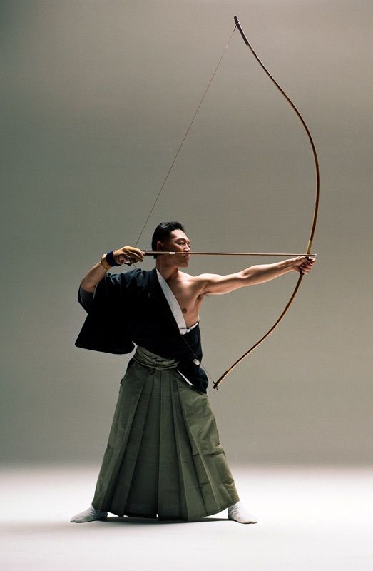 Kyudo archer; different stance from what is usual...