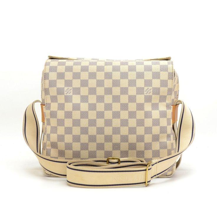 Authentic Louis Vuitton Naviglio messenger/shoulder bag in white Damier Azur Canvas. It has two stud closure and double zipper. #LouisVuitton #Handbags @fmasarovic