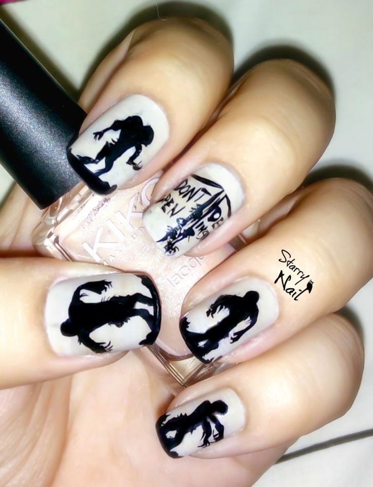 Zombie Silhouettes Scary Halloween Nail Art | Halloween ...