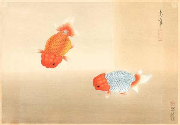 Bakufu Ohno 大野麦風    woodblock print, 1938    Goldfish