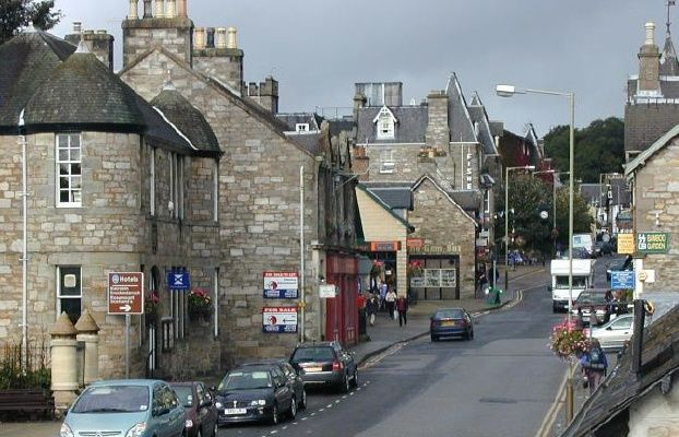 Pitlochry (this is the High Street). Town is north of Perth in the middle of Scotland. Near Blair Castle.