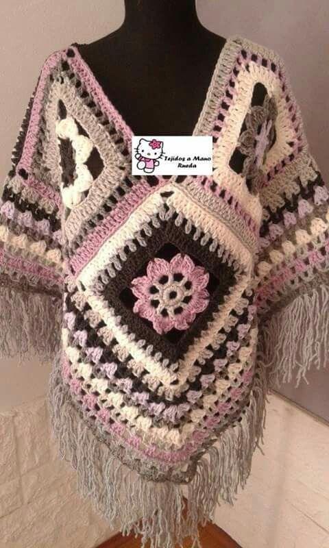 Poncho Artesanal Tejido Al Crochet Hilo O Lana - $ 550,00