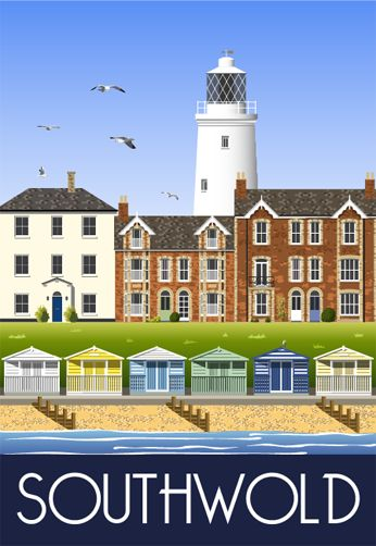 Southwold. An amazing seaside town on the Suffolk coast. Railway Poster style Illustration by www.whiteonesugar.co.uk Drawing by Nigel Wallace