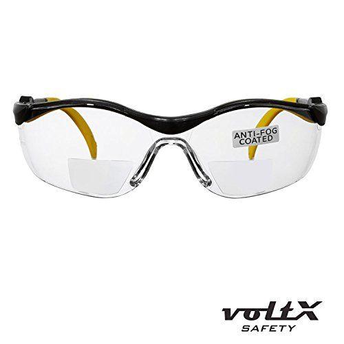 voltX 'GT' Lunettes de sécurité de lecture BIFOCALES, Reading Safety Glasses, TRANSPARENTES , Réglables, Certifiées CE EN166FT, Revêtement…