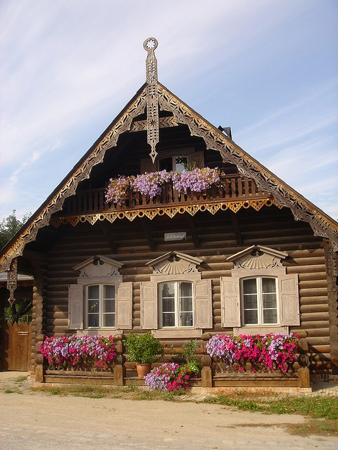Alexandrovka village in Northern Potsdam, Germany - Small Russian colony of 13 houses erected under Kaiser Friedrich Wilhelm III in 1826/27 to house the Russian singers of the First Prussian Regiment of the Guards. UNESCO World Heritage since 1999.