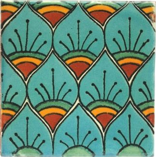 Turquoise Peacock Talavera Mexican Tile4.25 x 4.25 $1.99 on tierraYfuego.com