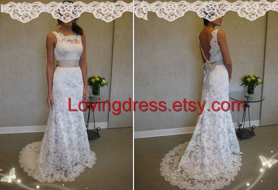 Inspired Replica of Jim Hjelm JH8904 Lace Wedding by MissBrides, $239.00 would rather have a coral or grey sash but its cute <3