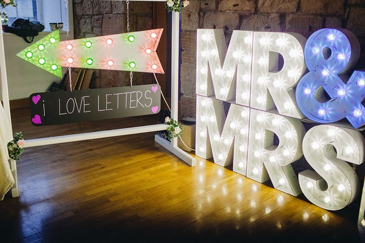 Giant Mr & Mrs light up letters. From 'The Glasgow Wedding Collective, Sunday 4th May 2014, The Lighthouse, Glasgow' photographed by http://christophercurrie.co.uk/