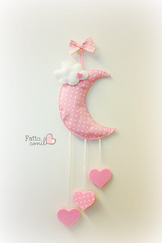 fiocco nascita luna a pois con cuori in perfetto stile romantico, by fattoconilcuore, 29,00 € su misshobby.com | Cloud Mobile