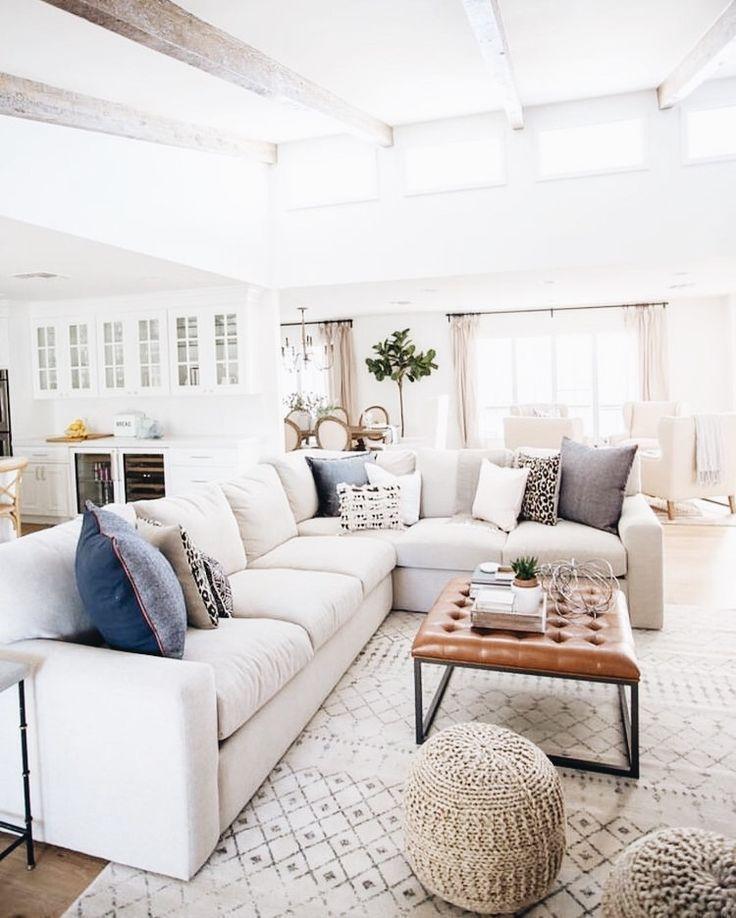 Large White Sofa In Modern Boho Living Room Decor Cottage Style Living Room Living Room Decor Neutral Living Room Sofa Design