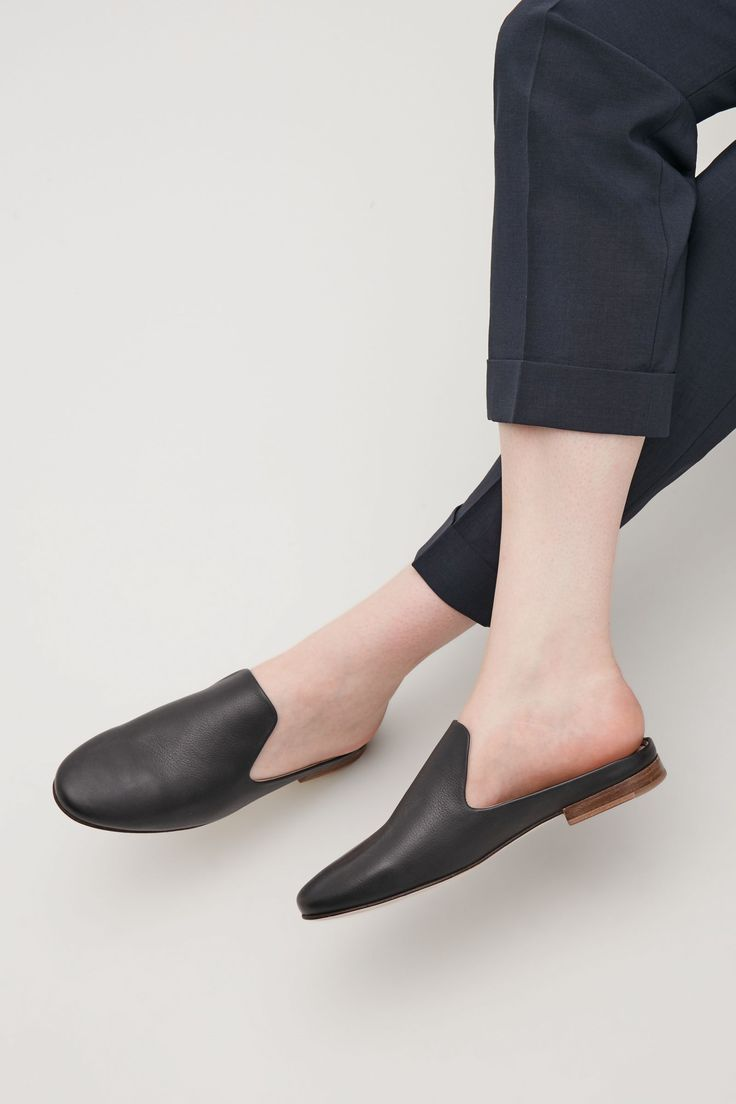 COS image 5 of Slip-on leather loafers in Black