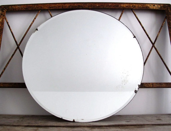 vintage round mirror wall mirror mirrors circle. Black Bedroom Furniture Sets. Home Design Ideas