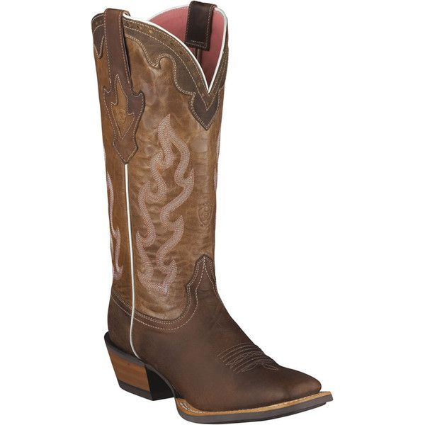 Ariat Crossfire Caliente Women's Brown Boot 9 B ($230) ❤ liked on Polyvore featuring shoes, boots, brown, ariat boots, cowgirl boots, genuine leather boots, leather boots and brown leather boots