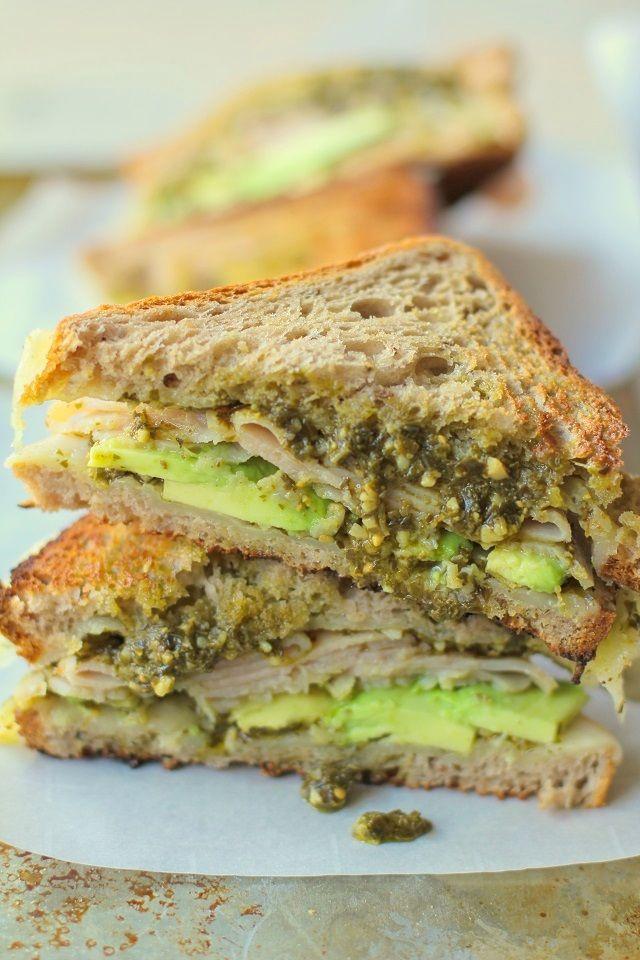 Turkey Pesto Avocado Grilled Cheese Sandwiches with @udisglutenfree rye bread #healthy #lunch #recipe