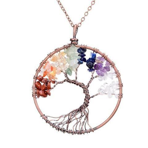 Rooted Tree Of Life  Seven Chakra Pendant Necklace  #chakra #asana #buddhism #yoga #spirituaity #healing #crystal #bsq