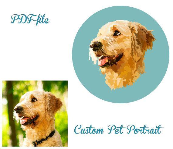 Custom Pet Portrait Christmas Gift. Pet Portrait by LinselusArt