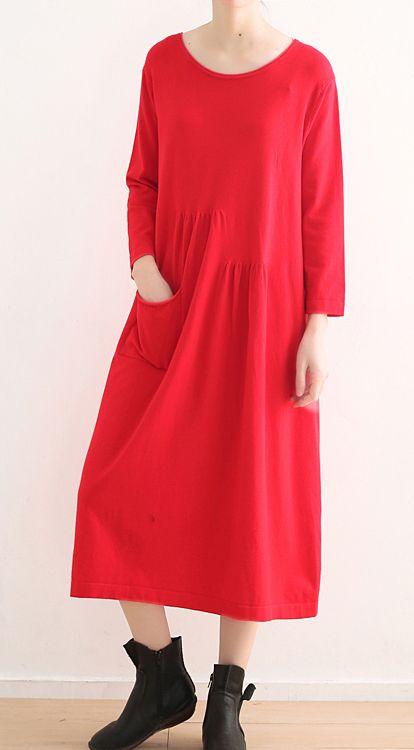 c5705768e70 vintage-red-knit-dresses-plus-size-o-neck-winter-dress-vintage-pockets-long- knit-sweaters4