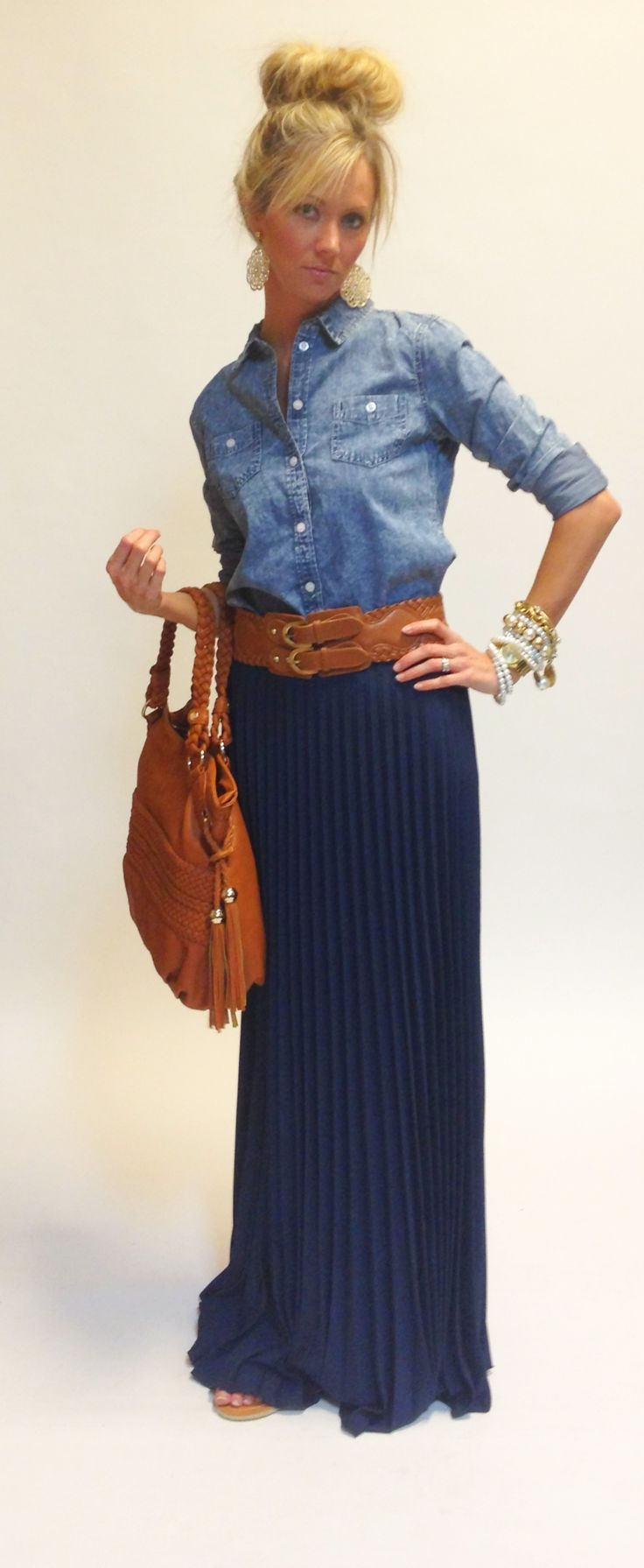 what shirt do you wear with maxi skirt 2013 | chambray shirt + maxi skirt.