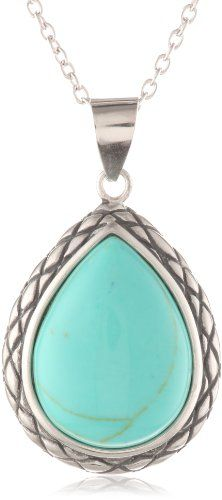 """Sterling Silver Turquoise Teardrop Pendant Necklace , 18"""" Amazon Curated Collection,http://www.amazon.com/dp/B004S67SR0/ref=cm_sw_r_pi_dp_FGUDsb0BQS81JBZ2"""