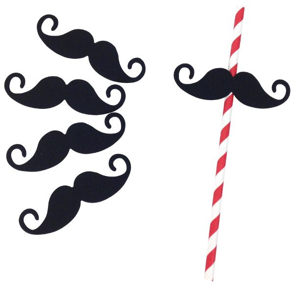 Paper Straw Flags 25 pcs Black Mustache  (for the children at the wedding?)