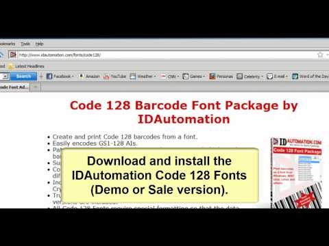 Create a GS1 Barcode In Excel using Code 128 Barcode Fonts
