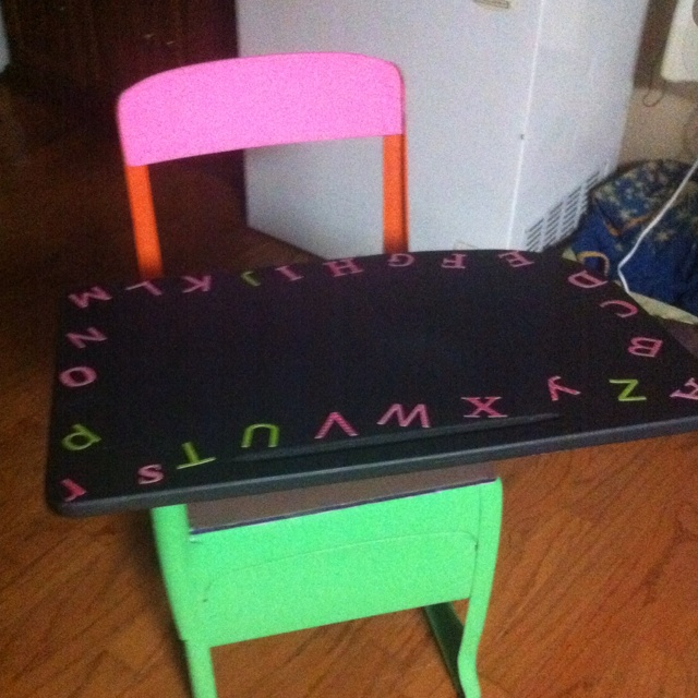 Old school desk I painted.  Top is a chalkboard. Kids loved it.