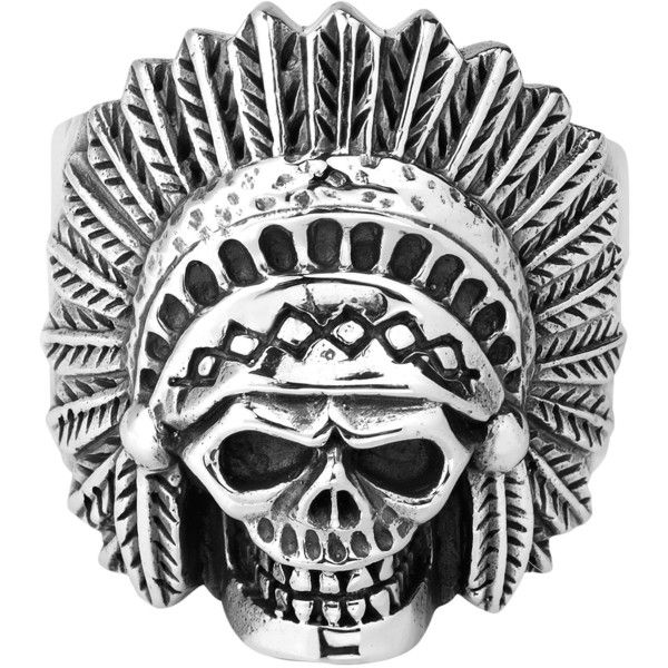 Native American Indian Chief Skull .925 Silver Ring 9 - AeraVida ($57) ❤ liked on Polyvore featuring jewelry, rings, indian jewelry, indian silver jewelry, indian ring, american indian jewelry and american indian rings