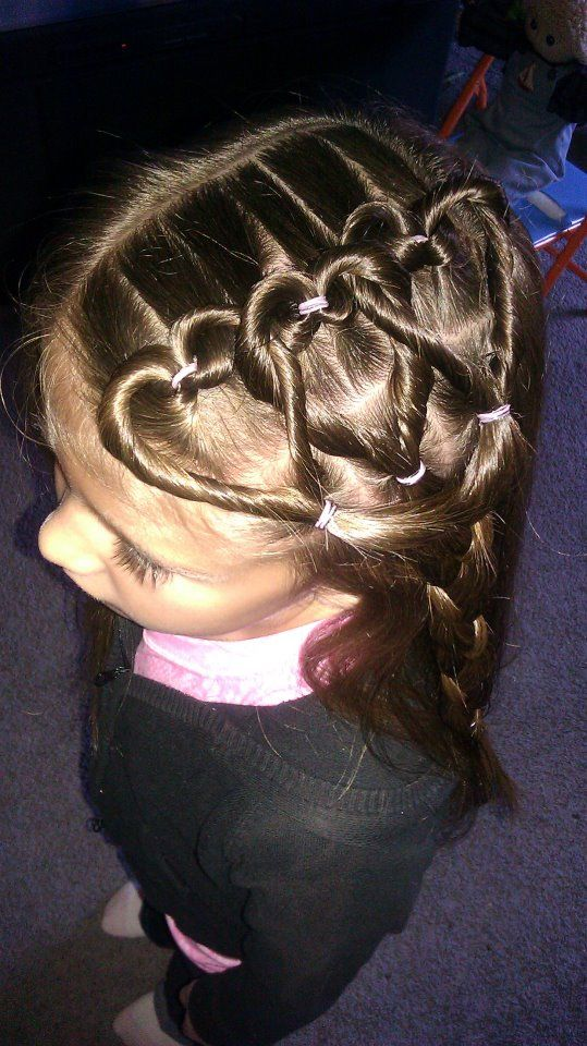 AMAZINGLY CUTE Little girl hair do - Heart braids!