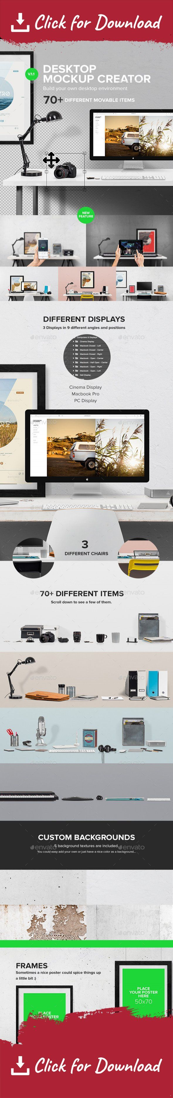 application, builder, cinema display, clean, creative, creator, header, hero, ipad, iphone, iphone 6, macbook, macbook mockup, mockup, mockups, photorealistic, products, scene, screen, studio, tablet, template, workplace, workspace It has never been easier to create your own desktop environment scene. It just takes seconds! You could use Macbook, Cinema Display, PC Monitor and more to get the environment you need.   You could use it for header, presentations, website mockups, gallery…