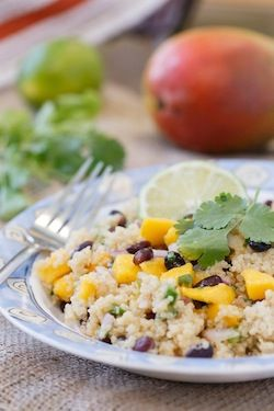 This Black Bean and Mango Quinoa Salad recipe is quick, easy, healthy, and super flavorful. It's perfect to pack for a work lunch or a picnic in the park!