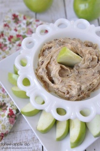 This toffee apple dip is amazing. Use apples or just a spoon to enjoy the yummy goodness.