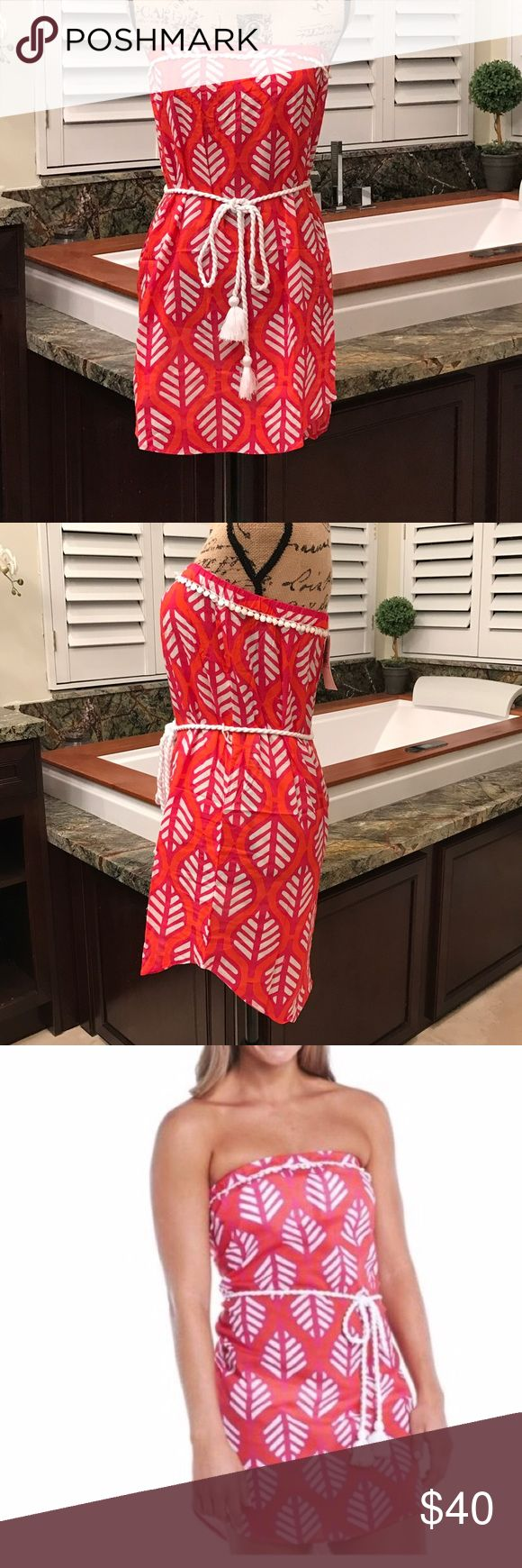 🇺🇸Red and white tube top cover up 🇺🇸 Perfect for July this cute cover up is red with a white leafy pattern and rope tie at the waist. Open to reasonable offers! Mud Pie Swim Coverups