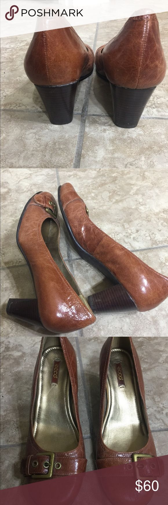 Ecco women brown pumps size 7 Very comfortable, excellent condition, few marks as seen in photo. Worn twice. Ecco Shoes Heels