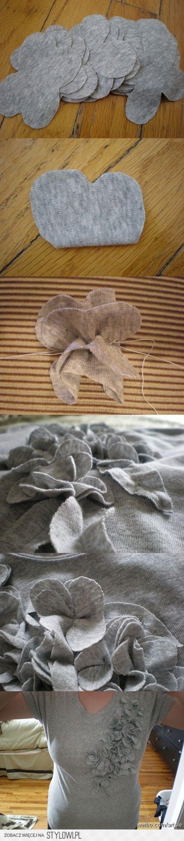 fabric flowers for tshirt embellishment