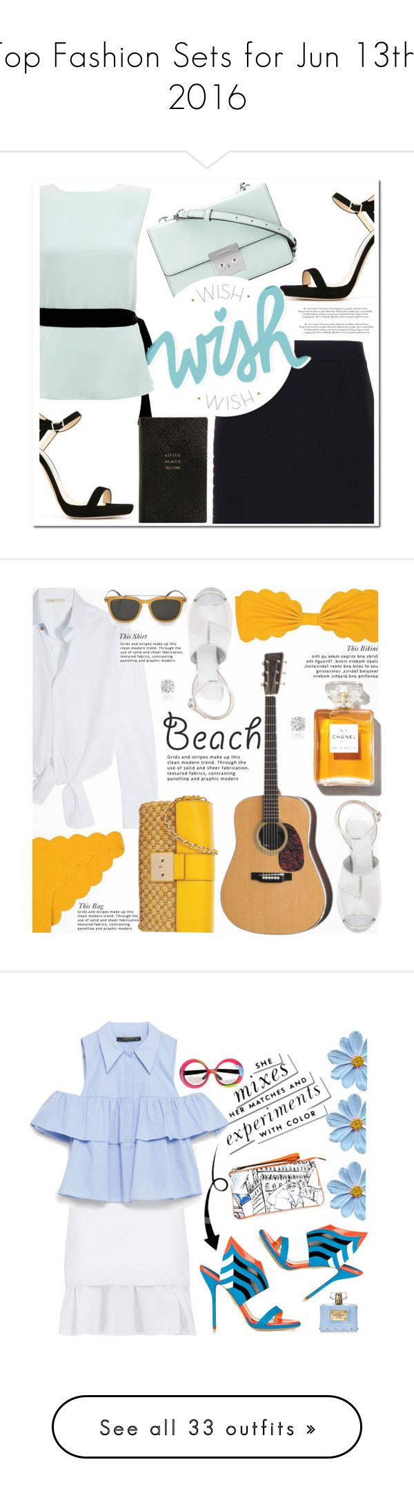 Top Fashion Sets for Jun 13th, 2016 by polyvore on Polyvore featuring polyvore fashion style Raoul Balenciaga Jimmy Choo MICHAEL Michael Kors Smythson clothing Maje Marysia Swim Maison Margiela Chanel Lipsy Michael Kors Salvatore Ferragamo Amanda Rose Collection Summer beach strawbags summerdate See by Chloé Zara Paul Andrew Emilio Pucci Versace Kate Spade emiliopucci zara chloe whiteskirt paleblue Current/Elliott Steve J & Yoni P Straw Studios Christian Dior Ancient Greek Sandals…