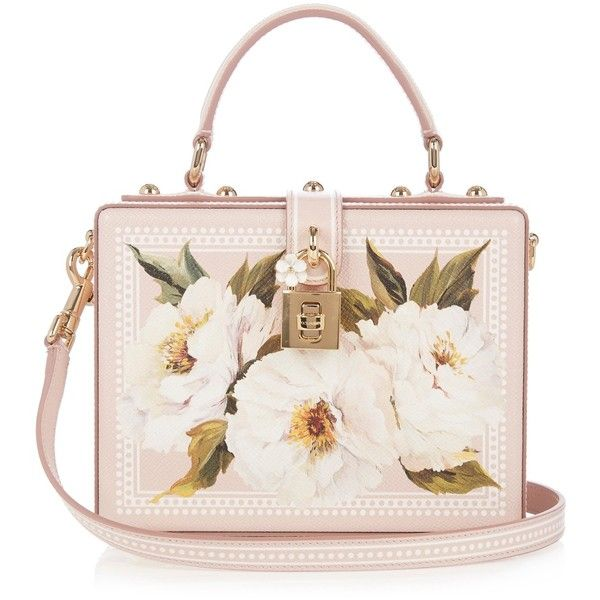 Dolce & Gabbana Dolce Box peony-print leather bag (20,870 GTQ) ❤ liked on Polyvore featuring bags, handbags, shoulder bags, leather handbags, white purse, genuine leather shoulder bag, white leather purse and real leather purses