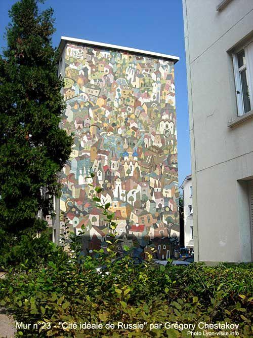 Murs peints musée Tony Garnier, Cité idéale de Russie par Gregory Chestakov, mur n°23 - Lyon-visite.info